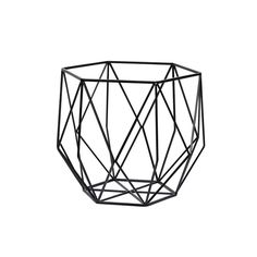 Hubsch Interior  Black Geometric Metal Basket : Geometric metal basket in jet black. Display as a simple object on tables + shelves or use as a stylish fruit bowl.