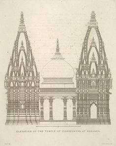 Elevation Of The Temple Of Vishveshwur at Benares.