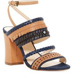 Nine West Baebee Sandal ($60) ❤ liked on Polyvore featuring shoes, sandals, blue mu de, chunky high heel sandals, strap sandals, thick heel sandals, open toe high heel sandals and high heel sandals