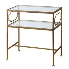 Uttermost Genell Gold-Leaf Iron Glass Side Table - BedBathandBeyond.com