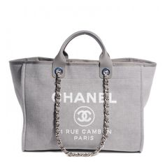 CHANEL Canvas Deauville Large Tote Grey ❤ liked on Polyvore featuring bags, handbags, tote bags, chanel, purses, borse, sac, tote handbags, zippered canvas tote and chanel purse