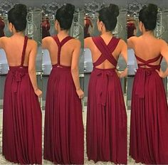 Image of Long Jersey Floor Length Bridesmaid Dresses Convertible Style Infinity Dress Bridesmaid, Burgundy Bridesmaid Dresses Long, Blue Bridesmaids, Wedding Bridesmaids, Infinity Dress Styles, Curvy Bride, Convertible Dress, Dress Tutorials, Girls Dresses