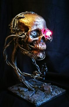 Servo skull sculpture. A full size sculpture fitted with an LED eye.  Available for sales and commissions from my etsy page.  Www.etsy.com/uk/shop/richardsymonsart  #art #sculpture #fantasy #steampunk #cyberpunk #etsy #skull #Warhammer #prop #etsy