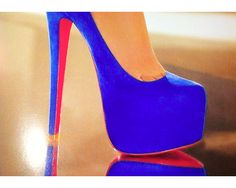 everyone should have at least one pair of blue heels :) (not so high though for me lol) Cute Shoes, Me Too Shoes, Awesome Shoes, Pretty Heels, Christian Louboutin Heels, Louboutin Shoes, Blue Pumps, Blue Stilettos, Red Bottoms