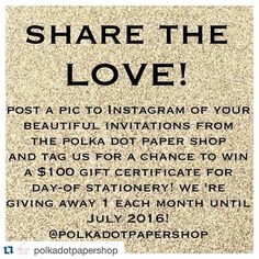 awesome vancouver wedding #Repost @polkadotpapershop with @repostapp. ・・・ Ahhhhh - it's the month of LOVE! And to celebrate, we want to spread the love to all of our beautiful customers!  starting this month, we will be giving away one $100 gift certificate EACH MONTH! Contest runs until July 2016. To enter, post a pic to Instagram of your Polka Dot Paper Shop wedding invitations and tag us. You will get 1 extra entry if you also post a caption that says why you love your...