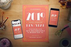 living coral new year flyer set by the good store on creativemarket sponsored