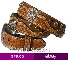 Nocona USA Western Cintura FLORAL tooled Cowboy Cowgirl Nero