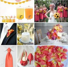 Coral + Yellow #wedding #color #palette #inspiration #board