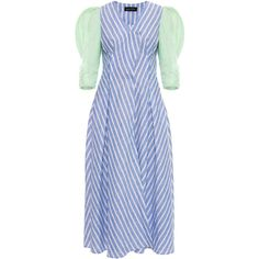 Anna October Port Contrast Stripe Midi Dress ($660) ❤ liked on Polyvore featuring dresses, stripe, shift dress, stripe dress, striped dresses, blue midi dress and pleated midi dress