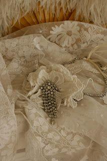 Rosemary Cathcart Antique Lace and Vintage Fashion: Antique Irish Crochet Lace & Diamante Wedding Headband