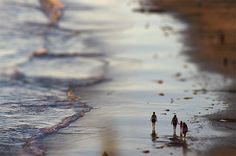 beach tilt shift
