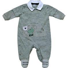 Macacão Bebê Menino Listrado Gola Pólo Verde - Sonho Mágico    764 Kids  fd8c7764654