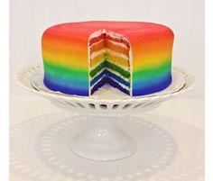 Taste the rainbow with this colorful fondant-covered Rainbow Cake! $80, shipping not included.