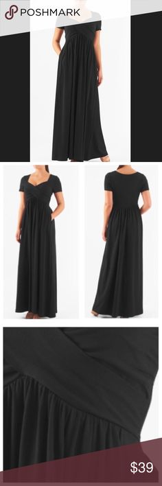 "New Eshakti Empire Waist Maxi Dress 18W New Eshakti empire waist maxi dress 18W Measured flat: underarm to underarm: 40"" Empire waist: 38"" Length: 61 1/2"" Eshakti size guide for 18W bust: 45"" Sweetheart neck, crossover bodice, side hidden zipper. Ruched pleat angled empire waist, side seam pockets. Cotton/spandex, jersey knit, light structured feel, light stretch, lighter midweight. Machine wash. New w/ cut out Eshakti label eshakti Dresses Maxi"