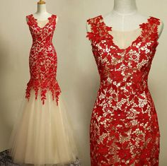 Lace, Mermaid, Sleeveless Prom Dresses, 2016 red, with zipper, Floor Length, Evening Gowns