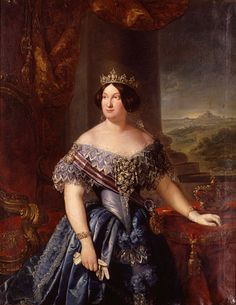 Isabel II by Federico Madrazo y Kunz (location unknown to gogm) Crown Painting, Renaissance, Fernando Vii, The Master And Margarita, 1800s Clothing, 1850s Fashion, Victorian Paintings, Spanish Royalty, European Dress