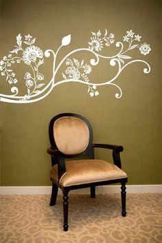 Vinyl Wall Art Decal -- Ivy Flowers Decals
