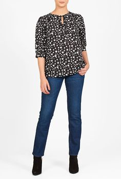 Women's Fashion Clothing and Custom Women's Fashion, Fashion Outfits, Blouse Designs, Polka Dot Top, Blouses, My Style, Long Sleeve, Sleeves, Clothing