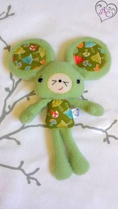 Plush mouse - green polar mouse ultra soft - safety eyes - embroidered face - crispy ears - stuffing beads - pinned by pin4etsy.com