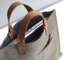 felt leather bag . DIY . sew Love this.
