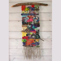Colorful Woven Wall Hanging with Found Objects by fishwarp on Etsy