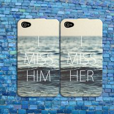 I miss him her couple his her cases Cute iPhone Case Rubber Cell Phone Cover