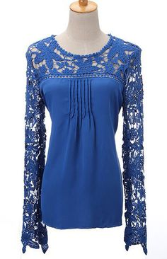 Lace Chiffon Long Sleeve Blouse (More Colors Available)