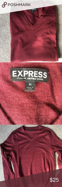 EXPRESS ••Sweater•• Italian Merino Wool V-Neck Sweater.  Size: M Color: Maroon Express Sweaters V-Neck