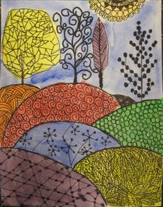 Colored Zentangle Paintings   paintings today in my after school art class the girls are all ages 7 ...