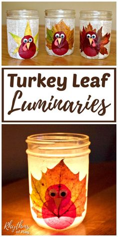 Turkey Leaf Luminaries - These rustic DIY lanterns are made with mason jars and real fall leaves, but you could use silk leaves too. The tutorial makes this autumn nature craft easy, for both kids and adults. They make a great Thanksgiving decoration and centerpiece for any holiday table! | #Thanksgiving #ThanksgivingCraft