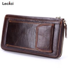 a72074539ee Lecxci Mens Genuine Leather Clutch Bag Handbag Organizer Checkbook Wallet  Card Case Wrist Wallet Bag with