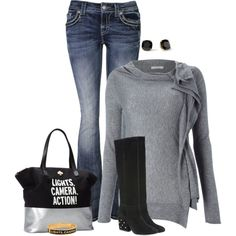 A fashion look from August 2013 featuring MARELLA sweaters, Miss Me jeans and Kate Spade boots. Browse and shop related looks.