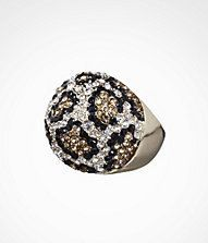 """This pave encrusted leopard pattern is everything! Every woman needs a statement piece and what better way than to don this ultra hot dome ring that will add the right amount of pop to any outfit. Embellishment 1"""" tall x 1 1/2"""" wideMetal/Glass/Epoxy, lead and nickel-free"""