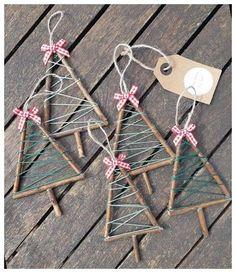 Twig Christmas Tree, Christmas Ornament Crafts, Christmas Crafts For Kids, Homemade Christmas, Christmas Art, Christmas Projects, Simple Christmas, Holiday Crafts, Twig Crafts