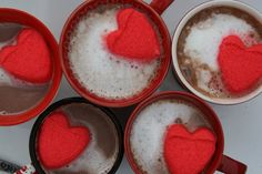 Cocoa with heart shaped peeps for Valentine's day