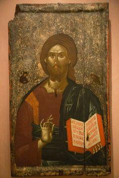 Muzeul Bizantin din Athena – icoana Christ Pantocrator, Russian Icons, Byzantine Art, Hagia Sophia, Orthodox Icons, Christian Art, Illuminated Manuscript, Pet Birds, Jesus Christ