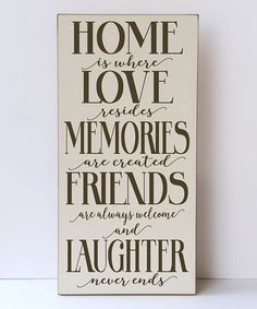 Loving this Cream & Brown 'Home is Where Love Resides' Wall Sign on #zulily! #zulilyfinds