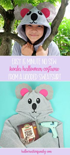 Looking for a quick and easy Halloween costume idea? This Easy 15 Minute No Sew Koala Halloween Costume is made using a hooded sweatshirt, felt and a glue gun! Includes a free template and an SVG file to cut with your Cricut or other electronic cutting machine! #koala #Halloween #NoSewCostume #handmade #Cricut #CricutMade #CricutCreated #CricutHalloween Up Halloween, Easy Halloween Costumes, Diy Costumes, Modge Podge Projects, Chocolate Turtles, Creative Crafts, Diy Crafts, Turtle Love, Glue Gun