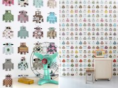 Robot wallpaper! so whimsical and fun for kids. stylish for the adults too.