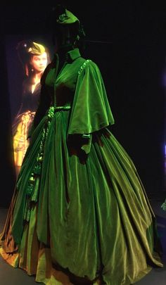"""The infamous green """"Curtains Gown"""", worn by Vivien Leigh as Scarlett O'Hara in """"Gone With the Wind"""", on display in the Hollywood Costume Exhibit at the Victoria and Albert Museum."""