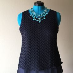 Navy Top Sleeveless front lace and chiffon with rayon lining, back is knit linen great summer classic LOFT Tops