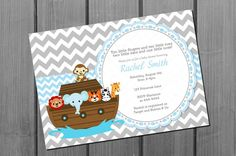 Noah's Ark Baby Shower Invitation Card Blue by NorthernDesigns, $9.00