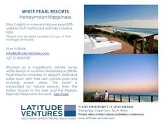 #WhitePearl #Honeymoon #Mozambique Half Board, Honeymoon Ideas, Out Of This World, Pearl White, Africa, Marriage, Beach, Places, Travel