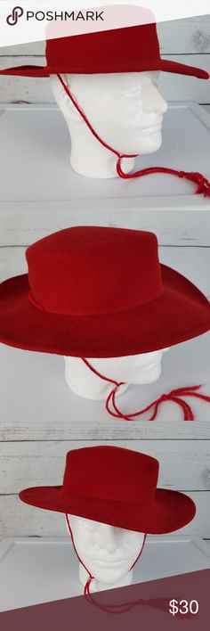 "Matador Boater Hat 100% Wool  Red  Brim 2.5""  Diameter Head 6.5""  Bollman Hat Co Smoke-free home. Item #1117 Bollman Hat Co. Accessories Hats"