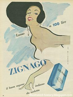 Pubblicità ZIGNAGO 1954 by Illustrated History - Domenica del Corriere, via Flickr