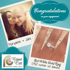 Receiving after pics from adds to the love of what we do. So thank you for choosing us to help you in picking the perfect Romantic Love Stories, White Gold Rings, Love Story, Diamond Cuts, Diamond Earrings, Congratulations, Jewels, Engagement Rings, Enagement Rings