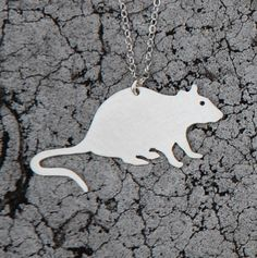 RAT urban pest sterling silver necklace. $60.00, via Etsy.