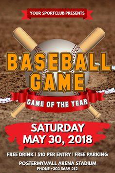 Baseball flyer or social media post template.