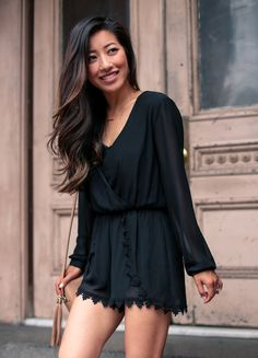 summer fashion // astr long sleeve romper & balayage highlights on dark or black hair