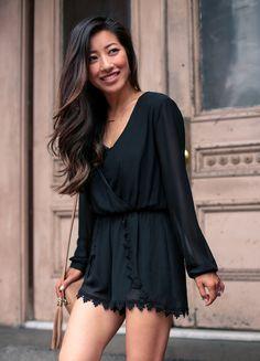 summer fashion // astr long sleeve romper & balayage highlights on dark or black hair